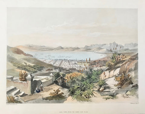 """Cape Town, from the Camps Bay Road""  Hand-colored lithograph by Jonathan Needham (active second half of 19th century).  After the drawing by George French Angas (1822-1886)  Published in:  ""The Kafirs Illustrated in a Series of Drawings - The Amazulu, The Amaponda, ad Amakosa Trbes also Portraits of the Hottentot, Malay, Fingo, and other Races Inhabiting Southern Africa""  By George French Angas. London, 1849"