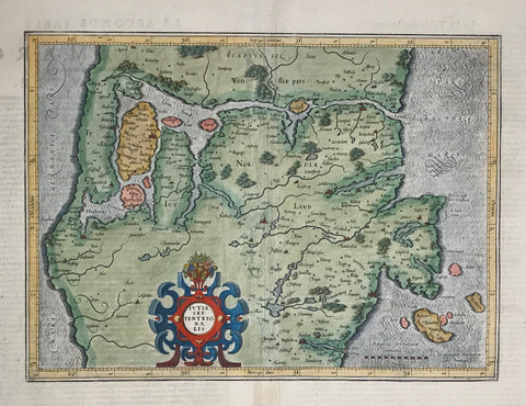 """Ivtia Septrtentrionalis"" Copper engraving by Gerard Mercator ca. 1600. Contemporary hand coloring.  Map shows northern Denmark with the Lim Fjord in the upper area of the map. The map reaches as far south as the Hosens Fjord. Backside has text in French about the history and geography of Demark of the time."