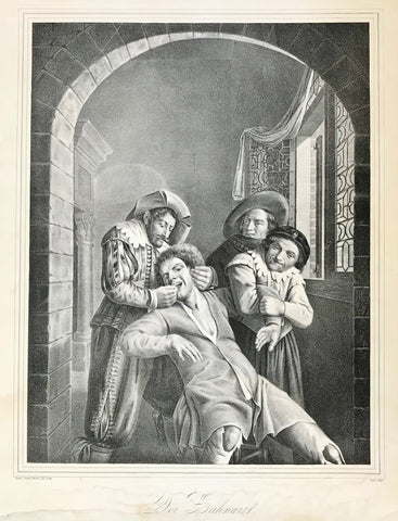 """Der Zahnarzt"" (the dentist)  ""Pramienbild zum Archiv fuer Natur Kunst etc. fuer 1843.""  Very fine lithograph after the painting by Cornelius Molenaer (named Scrabo. Published by Delme & Mueller, 1843."