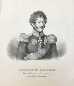"""Freiherr von Varnbueler Koenigl. Wuerttembergischer General-Lieutenant und General-Quartiermeister"".  Lithography by by J. Woelffle after Franz Seraph Stirnbrand (1788 - 1882). Ca. 1850."