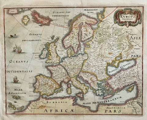 """Europa Nova Delineatio""  Hand-colored copper engraving map by Matthäus Merian. Pleasant pastel colors.  Published in ""Theatrum Europaeum""  Frankfurt am Main, 1640  Original antique print"