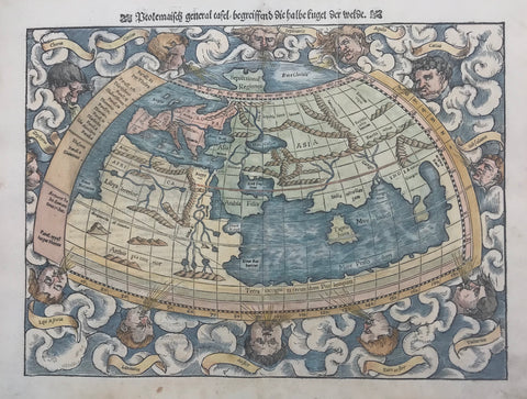 """Ptolemäisch general Tafel begreiffend die halbe kugel der weldt""  Hand-colored woodcut  Published in ""Cosmographia"" by Sebastian Muenster (1488-1552)  German edition  Basel, 1553  Muenster based this rendering of ""half the globe of the earth"" on Ptolemy's rendering. Ptolemy accounted for the knowledge of the geography of the earth of the second century A.D. Muenster"