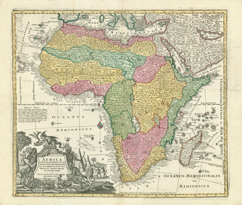 """Africa iuxta navigationes et Observationes Recentissimas Aucta Correcta et in sua Regna et Status Divisa, in Lucem Edita"". Copper etching in original coloring. By Matthaeus Seutter. Augsburg, ca 1740.  This map of the whole African continent has a decorative cartouche with natives, pyramids, animals typical of Africa and on top of the cartouche, a winged dragon. Peripherically: the European neighbors, most of Arabia, Madagascar, the Cape Verde Islands and the Canary Islands."