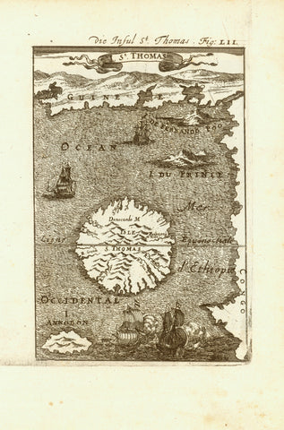 """St. Thomas""  Copper etching published in ""Description de L'Univers"".   Paris, 1683  St. Thomas or Sao Tome, is, together with a few other islands an Island country in the Gulf of Guinea (West Africa). Discovered by Portuguese explorers in 1471 it became a Portuguese colony. Independence happened in 1975."