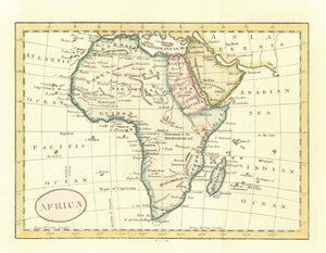 """Africa""  Copper engraving map by Barton (?) ca 1805. Rare!  Published by Long in London. Attractive hand coloring."