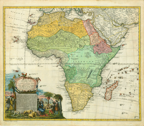 """Africa secundum legitimas Projectionis Stereograpficae.....""  Fine copper engraving map with very exquisite original hand coloring.  The map is by Johann Matthias Hasius at Homann Heirs in Nuremberg ca 1740.  The cartouche is a real eye catcher showing splendid images of African peoples, animals and explorers."