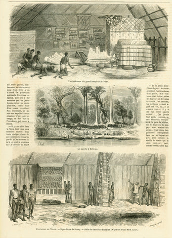 "Upper image: ""Vue interieure du grand temple de Calebar"" Middle image: ""Le marche a Tschiopo"" Lower image: Expedition du Niger. - Dyou-Dyou de Bonay. - Salle des sacrifices humains"" (shows the many skulls from human sacrifices)  Published 1867"