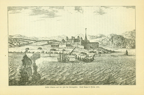 """Castel Elmina aus der Zeit der Portugiesen. Nach Dapper's Afrika, 1676"" (Ghana)  Fort São Jorge da Mina  Wood engraving made after an earlier image. Published 1885."