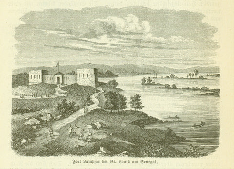 """Fort Lampsar bei St. Louis am Senegal""  Wood engraving published 1885. The image is on a page of text about exploration and slave trade."
