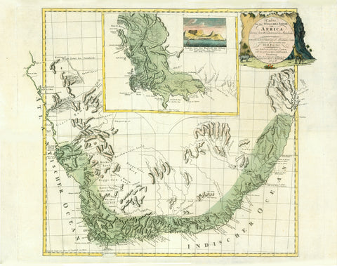 """Carte von der Suedlichen Spitze von Africa bis zu dem Wendekreise des Steinbocks""  Map of the southernmost part of Africa, to the Tropic of Capricorn.  Hand-coloured copper etching after the map drawings of Francois Levaillant (1753-1824) and D. Sparmann.  Editor: D.I.R. Forster  Publisher: Schneider and Weigel  Nuremberg, dated 1797  Map shows quite detailed South African coastline and back country along the coastline from Tropic of Capricorn (West of Africa) to Tropic of Capricorn (East of Africa)  There"