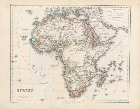"""Afrika""  Steel engraving map by O. Haubold and Terrain v. Kunze after L. Ravenstein in 1865. Original outline coloring.  In the upper right are listed the various European possessions in Africa with a color key. interior design, wall decoration, ideas, idea, gift ideas, present, vintage, charming, special, decoration, home interior, living room design"