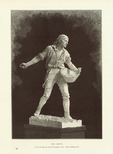 """The Sower""  Wood engraving made after the statue by Hanno Thornycroft, 1895.  23 x 16 cm ( 9 x 6.2 "")"