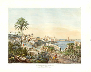 "Alger (Al-Djezair) et le Faubourg Bab-Azoun.   Alger (Al-Djezair) et le Faubourg Bab-Azoun. View of Algeria originates from Adolphe Otth's travel observations in Algeria. He was the designer and lithographer for this astounding series which were published by J. F. Wagner at Berne, Switzerland.Ca 1850 as Esquisses africaines, dessinées pendant un voyage à Alger""."