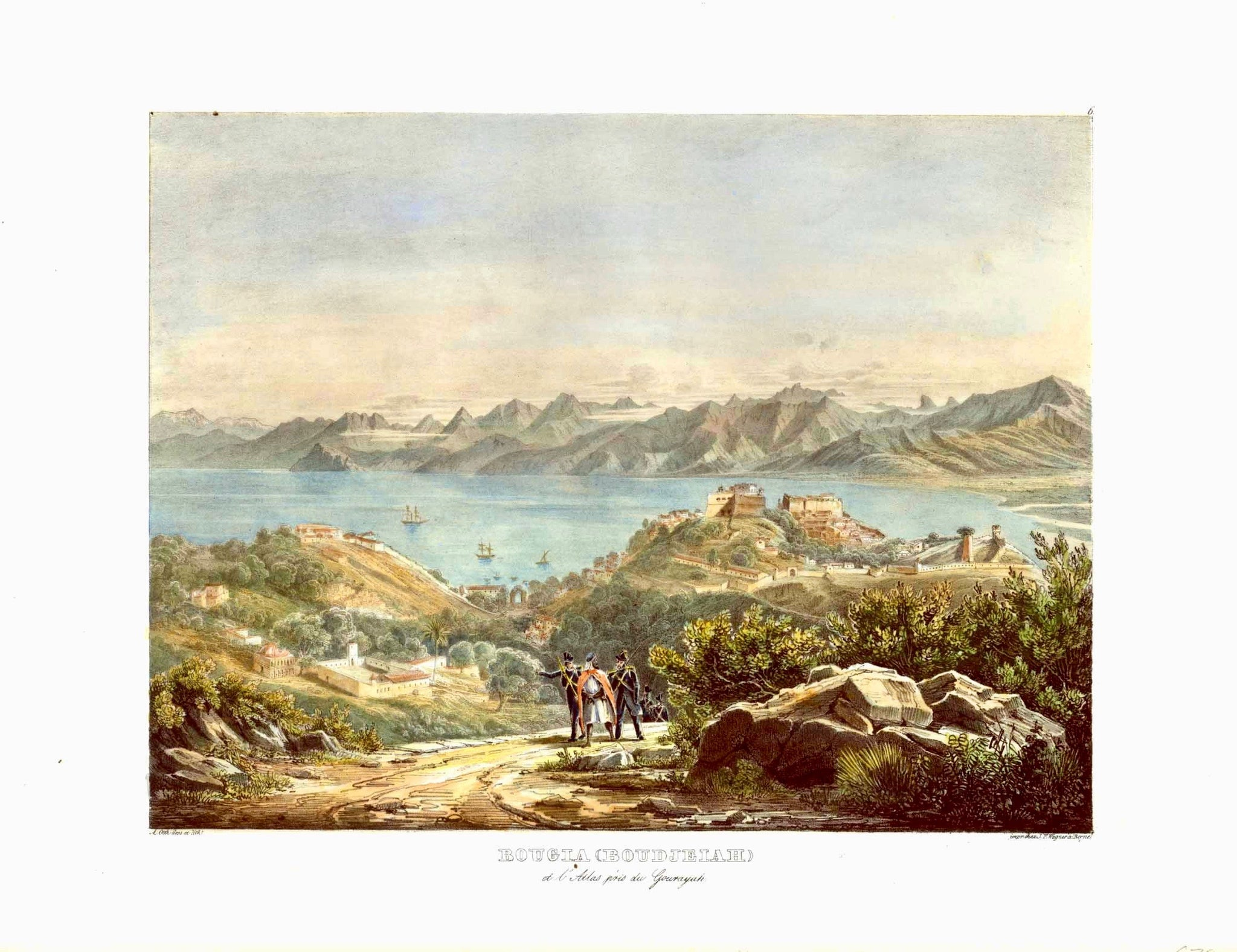 "Bougia (Boudjeiah). View of Algeria originates from Adolphe Otth's travel observations in Algeria. He was the designer and lithographer for this astounding series which were published by J. F. Wagner at Berne, Switzerland.Ca 1850 as Esquisses africaines, dessinées pendant un voyage à Alger""."