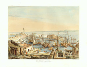 "Le Port D'Ager. View of Algeria originates from Adolphe Otth's travel observations in Algeria. He was the designer and lithographer for this astounding series which were published by J. F. Wagner at Berne, Switzerland.Ca 1850 as Esquisses africaines, dessinées pendant un voyage à Alger""."