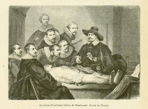 """La Lecon d'anatomie, tableau de Rembrandt""  Wood engraving by Franck after a painting by Rembrandt. Published 1860. Reverse side is printed."