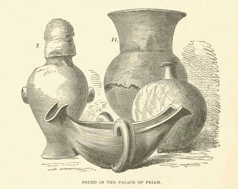 Three separate pages with wood engraving images of ceramics found in the palace of Priam in Turkey.. Each image is on a full page that has English text on the reverse side about the archeological discoveries. Published ca 1880.  Original antique print