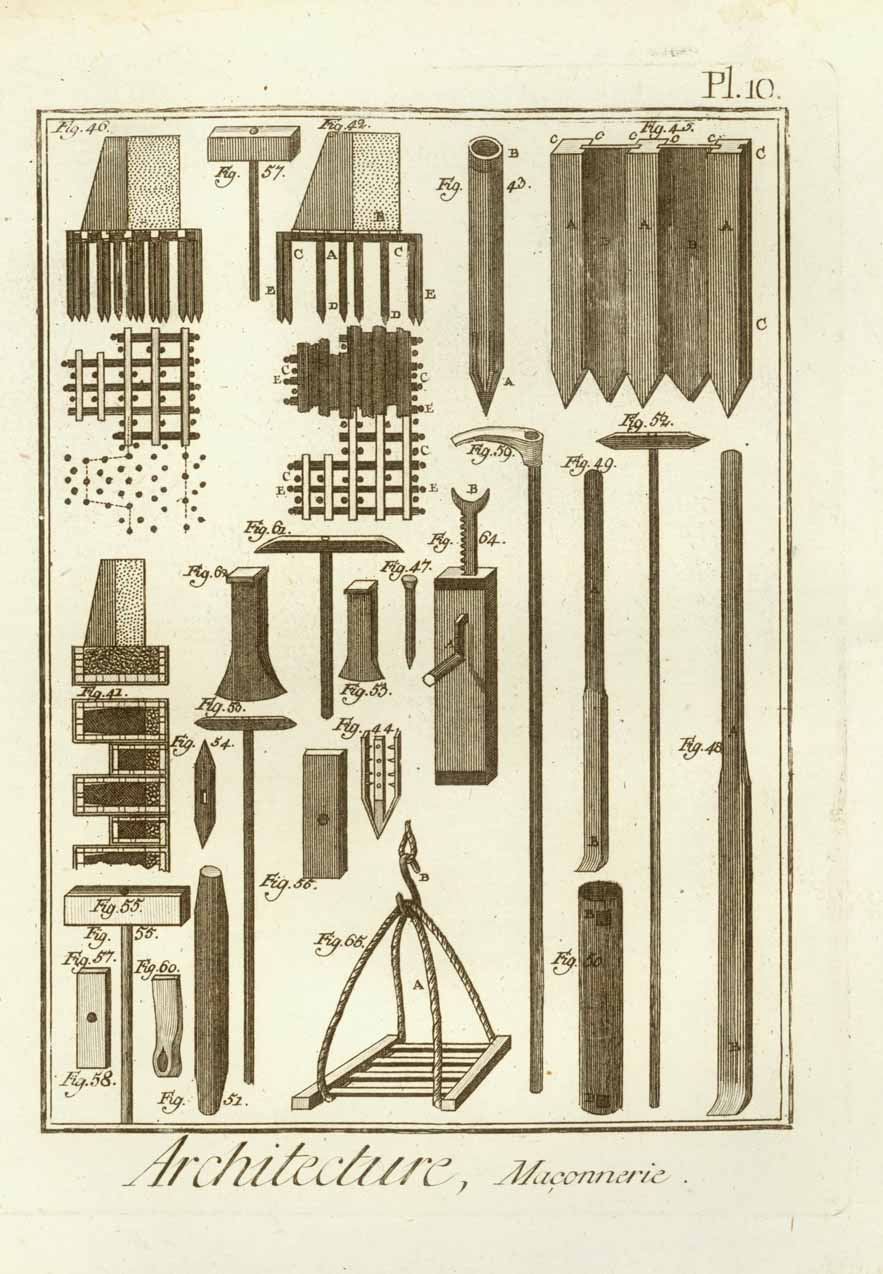 """Architecture, Maconnerie"" ( tools for stonework )  Copper engraving ca 1760."