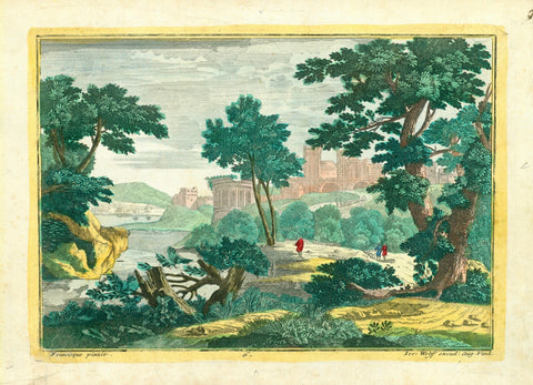 "No title.  Copper engraving by Wolff after a painting by Francisque ca 1780.  This image was inspired by the ""Capriccio"" school of art which had  fantasy architecture set in an artistic setting.  Fine, original hand colouring."