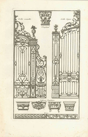 "No title. Wrought Iron Gates - Capitals  Copper etching  Published in ""Traite elementary pratique d'architecture ou étude des cinq ordres""  - Regula delle cinque ordini d'architettura  By Barozzi da Vignola (1507-1573)  Original Italian edition was printed in 1562. Our prints are from the French edition. Paris, 1767  Page 88 from this work.  Original antique print"