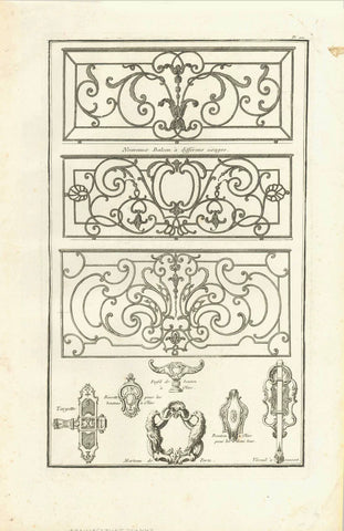 "No title. Wrought Iron balcony railings and samples for bits and pieces  Copper etching  Published in ""Traite elementary pratique d'architecture ou étude des cinq ordres""  - Regula delle cinque ordini d'architettura  By Barozzi da Vignola (1507-1573)  Original Italian edition was printed in 1562. Our prints are from the French edition. Paris, 1767  Page 100 from this work.  Original antique print"