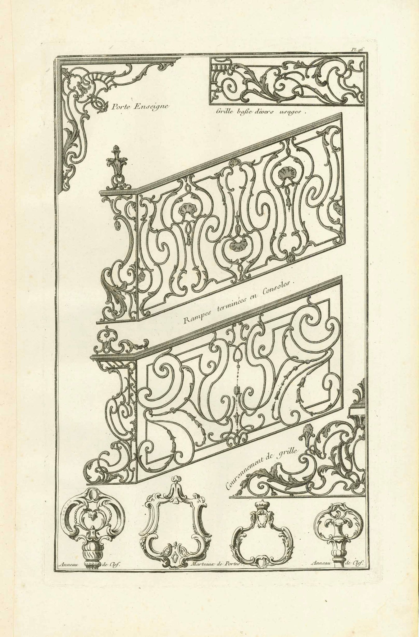 "No title. Wrought Iron Stairway railings and other samples of wrought iron  Copper etching  Published in ""Traite elementary pratique d'architecture ou étude des cinq ordres""  - Regula delle cinque ordini d'architettura  By Barozzi da Vignola (1507-1573)  Original Italian edition was printed in 1562. Our prints are from the French edition. Paris, 1767  Page 94 from this work.  Original antique print"