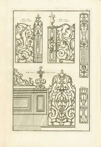 "No title. Wrought Iron Gates and Grids  Copper etching  Published in ""Traite elementary pratique d'architecture ou étude des cinq ordres""  - Regula delle cinque ordini d'architettura  By Barozzi da Vignola (1507-1573)  Original Italian edition was printed in 1562. Our prints are from the French edition. Paris, 1767  Page 89 from this work.  Original antique print"