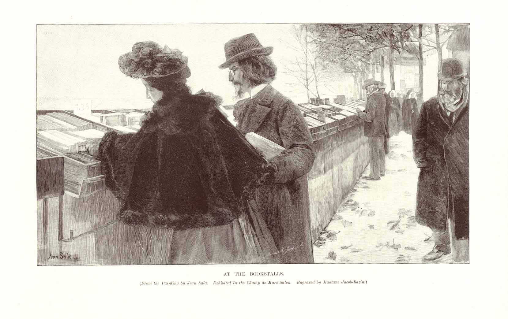 """At the Bookstalls""  Wood engraving by Madame Jacob-Bazin after a painting by Jean Sala Madame Jacob-Bazin ca. 1910."