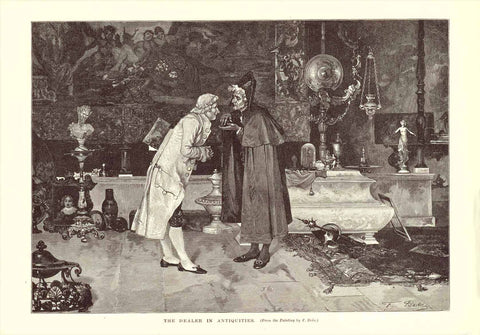 """The Dealer in Antiquities""  Wood engraving after a painting by F. Beda. Published 1895."