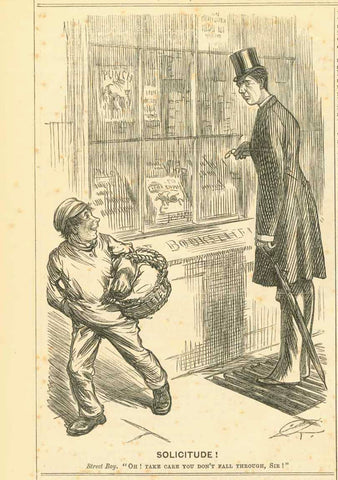 """Solicitude"" Street Boy. ""Oh! Take care you don't fall through, Sir!""  Wood engraving published 1882. Reverse side is printed with unrelated text  Original antique print"