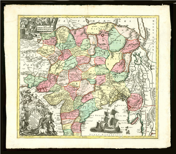 """Imperii Magni Mogolis sive Indici Padschach. . ..""  Copper engraving map by M. Seutter of Augsburg. Published ca 1740.  Attractive hand coloring. Strong impression on heavy paper.  Vertical centerfold.  This map shows most of India, Myanmar, Afghanistan and Pakistan.  There are two very decorative cartouches."