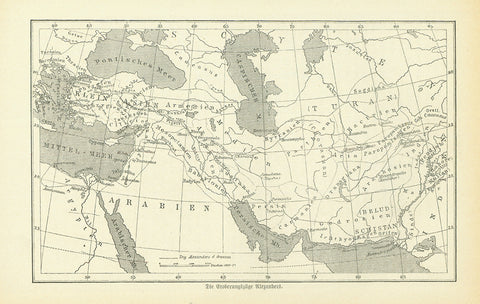 """Die Eroberungszuege Alexanders"" (the conquest route of Alexander the Great)  Interesting wood engraving map with dotted lines showing the various conquest routes of Alexander the Great. Text on the reverse side about Persia and Alexander's travels."