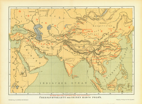 """Uebersichtskarte der Reisen Marco Polo's""  Chromolithograph map published 1881. The red names are those of Marco Polo."