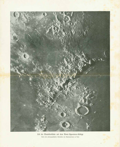 """Teil der Mondoberflaeche mit dem Mond-Appeninen-Gebirge""  Image made after a photograph by the Observatory in Paris. Published 1895. This print has an attached tissue paper with the names of the areas shown on the image."