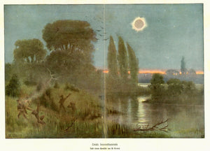 """Total Sonnenfinsternis""  Chromolithograph made after a painting by W. Kranz ca 1905. Vertical centerfold. Very light spotting in margins."