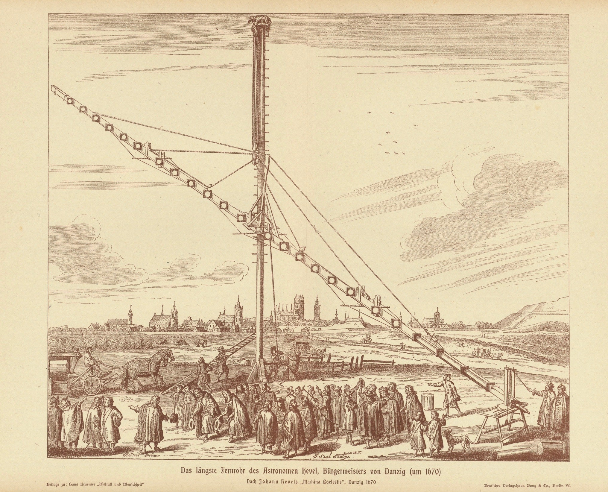 """Das laengste Fernrohr des Astronomen Hevel, Buergermeister von Danzig (um 1670)"" (the longest telescope of the astronomer Johannes Hevelius, mayor of Danzig ca 1670)"