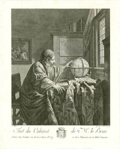 No title. Astronomer in his study room.  Astronomer turning his celestial globe.  Copper etching by Louis Garrreau (active 1770- 1811)  After the painting by Jan Vermeer (1632-1675)  Dated 1784  Original antique print    Published in the collection of Monsieur le Brun