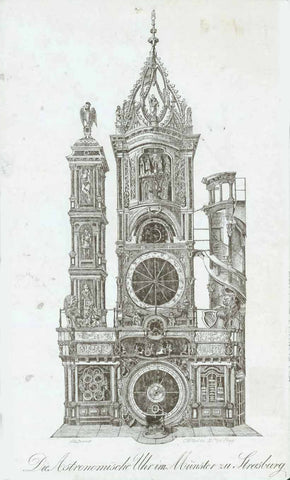 "City Views, Architecture, Astronomy, France, Strassburg, astronomical clock , ""Die Astronomische Uhr im Münster zu Strasburg""  Line lithograph by Spaner  Prague, ca. 1840  Original antique print"