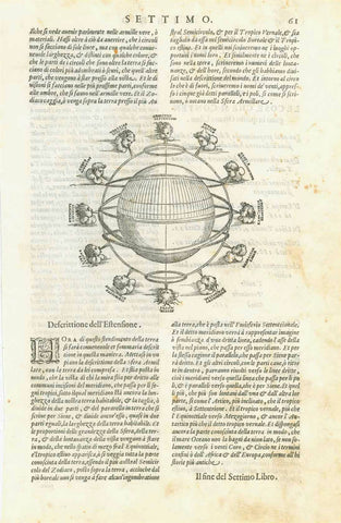 "ASTRONOMY - Armillary Sphere by Ptolomy  Article with two copper plates.  The armillary sphere was an ancient (Arabian) construction to show the coordinates of astronomical system. It was used even in ""modern"" times, until science allowed for more precise measurements.  In Claudio Ptolomy's ""Geographica cio e Descrittione universale della Terra"" we find this system explained. The here offered articles are from the Italian edition of this fundamental work  The Italian edition was edited and published by Giov"