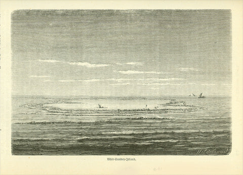 """Whit Sunday Island"" (Whitsunday Island)  Wood engraving published 1885. On the reverse side is text about early explorationof the Whitsunday Islands.  Image: 11 x 16.5 cm ( 4.3 x 6.4 "")"