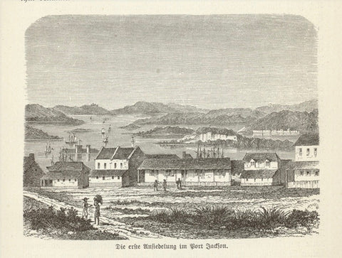 """Die erste Ansiedlung in Port Jackson"" (the first settlement in Port Jackson)  Wood engraving on a page of text about early settlement  of Australia that continues on the reverse side. Published 1885."