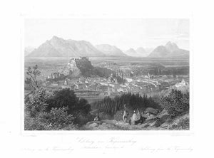 """Salzburg vom Kapuzinerberg südwestlicher Aussichtspunkt""  Title in German, French and English  Steel engraving by Karl Friedrich Wuerthle (1820-1902)  illPublished as a single sheet by Baldi and Wetteroth. Salzburg, ca. 1850  General areal view of this beautiful Austrian City from a nearby hill."