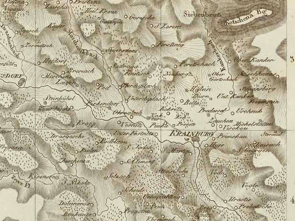 """Theil von Krain. Parthie de la Carntole""  Copper engraving published in Weimar by the Georgraph. Institut, 1804.  For orientation Villach is in the upper left corner of this map. Tulmino (Tolmin, Tolmein) in Slovenia is in the lower corner of the map. interior design, wall decoration, ideas, idea, gift ideas, present, vintage, charming, special, decoration, home interior, living room design"