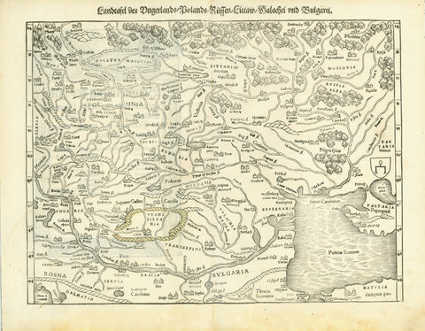 """Landtafel des Unterlands / Polands / Russen / Littaw / Walachei und Bulgarei""  Woodcut.  Published in ""Cosmographia""  By Sebastian Muenster (1488-1552)  Basel, 1553  This early map touches many countries from Hungary to the Black Sea, from Bosnia and Bulgaria to Lithuania and Poland, Ukraine and West Russia. Transsilvania (Siebenbuergen) - the surrounding mountain chain has been lightly hand-colored."