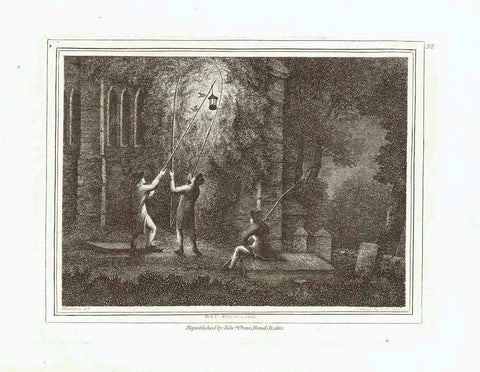 """Bat-Fowling""  Stipple copper engraving by Samuel Howitt (1756-1822)  A rather ancient method - to catch birds and bats with a source of light by night.  Published in London, dated 1799"