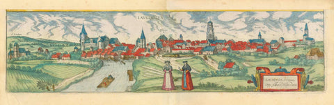 "Lauingen. - ""Laugingen"" - ""Laubinga Svevie Opp. Alberti Magni Patria""  Copper etching with splendid original hand coloring.  Published in ""Civitates Orbis Terrarum""  By author and publisher Georg Braun (1541-1622) and engraver and publisher  Frans Hogenberg (1535-1590)  Cologne, 1588, interior design, wall decoration, ideas, idea, gift ideas, present, vintage, charming, special, decoration, home interior, living room design"