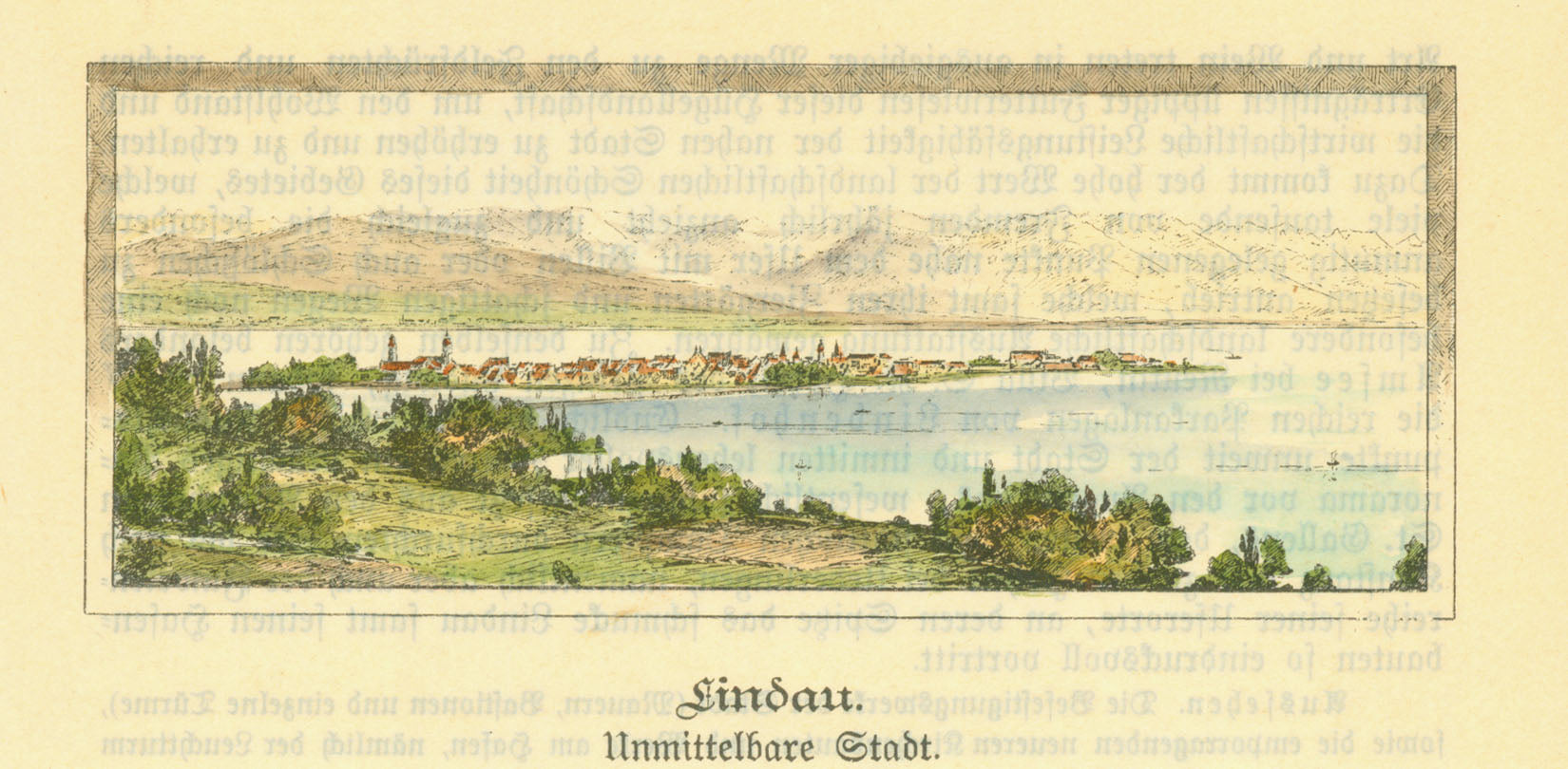 """Lindau""  Hand-colored wood engraving, 1895. Print from reverse side is lightly visible."