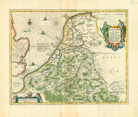 "Copper etching by Peter Kaerius. Hand-colored.  The title might suggest that this map was part of ""Theatrum Orbis Terrarum"" by Abraham Ortelius. But this is not the case. This map was produced for Ortelius but not used in his atlas.  Instead it was published by Johannes Jansson (1588-1664)  Pubiished in his ""Accuratissima Orbis Antiqui Delineatio"" (Atlas with historic maps)  Amsterdam, ca. 1660"