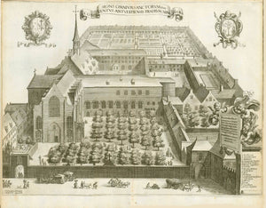 """Antwerp. - ""Mons Omnium Sanctorum sive Conventus Antverpiensis Fratrum ""  Monastery of the Franciscan Monastery (Friars Minor) in Antwerp.  Half bird's eye view into the entire monasterial setting.  Copper etching by Jacob Neeffs (1610-?)  after the drawing by Philip Fruytiers (1610-1666)  Antwerp, 1663  Original antique print"
