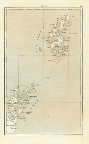 No Title  Steel engraving published 1840 showing the Shetland and Orcades Islands.